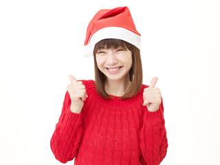女性 クリスマス グッドサイン