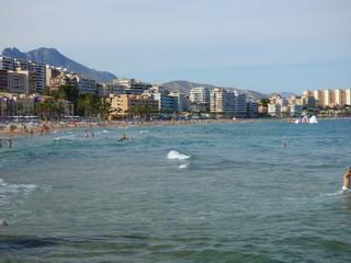 Playa de Villajoyosa,municipio de la Comunidad Valenciana, España. Perteneciente a la provincia de Alicante y situado en la Costa Blanca
