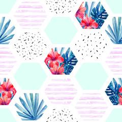 Printed kitchen splashbacks Watercolor Nature Abstract summer hexagon shapes seamless pattern