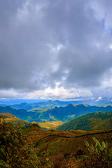 high mountains peaks range clouds in fog scenery landscape national park view outdoor  at Doi Ang Khang, Chiang Mai Province, Thailand