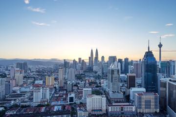 cityscape of modern city at sunrise