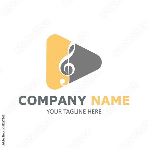 Music note symbol vector logo illustration