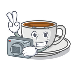 Photography coffee character cartoon style