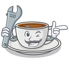 Mechanic coffee character cartoon style