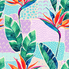 Papiers peints Empreintes Graphiques Watercolor tropical flowers on geometric background with doodles.