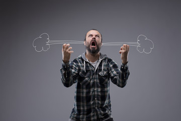 Very angry man letting off steam