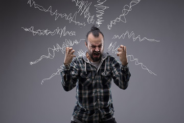 Man in a rage throwing a temper tantrum