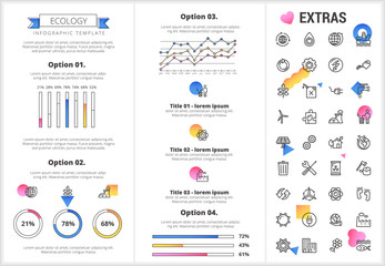 Ecology infographic template, elements and icons. Infograph includes customizable graphs, four options, line icon set with resources of green energy, environmental cycle, water and sun power etc.