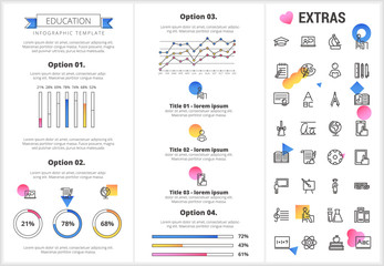 Education infographic template, elements and icons. Infograph includes customizable graphs, four options, line icon set with education certificate, university student, books, college diploma etc.