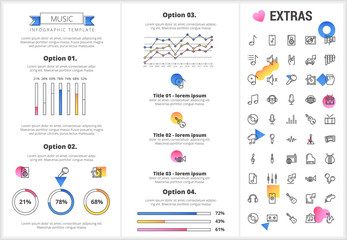 Music infographic template, elements and icons. Infograph includes customizable graphs, four options, line icon set with musical instruments, music notes, mic, smartphone with mobile application etc.