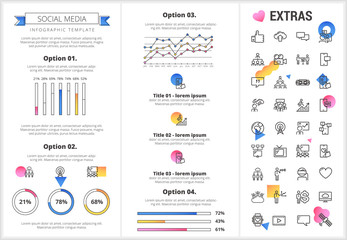 Social media infographic template, elements and icons. Infograph includes customizable graphs, four options, line icon set with social media, global network, electronic mail, internet technology etc.
