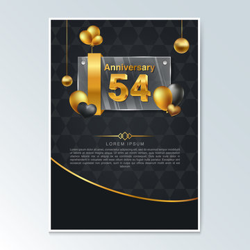 54th anniversary decorated greeting card template