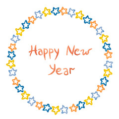 New Year inscription and stars of  blue and red painted watercolor on a white background