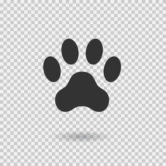 Animal paw print. Dog paw with shadow. Web icon. Footprint