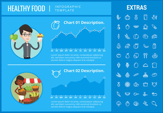 Healthy food infographic template, elements and icons. Infograph includes customizable graphs, charts, line icon set with food plate, restaurant meal ingredients, eat plan, fish, vegetables, meat etc.