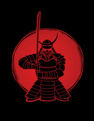 Samurai standing front view ready to fight designed on sunlight background graphic vector.