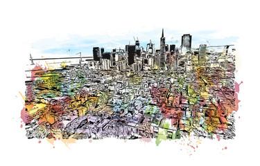 Watercolor splash with sketch of Skyline San Francisco, USA in vector illustration.
