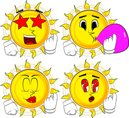 Cartoon sun inviting to come there. Collection with various facial expressions. Vector set.