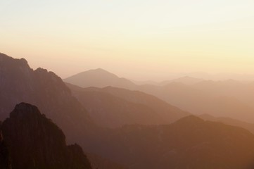 Sunset over Yellow Mountains, Huangshan, China