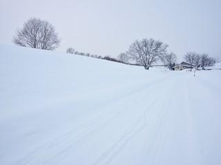 Hokkaido small town in the winter
