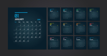 Dark Modern Calendar Planner Template for 2018. Vector minimal design template