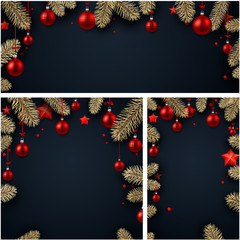 Backgrounds with fir branches and Christmas balls.