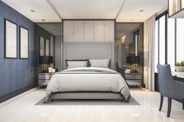3d rendering blue modern luxury bedroom suite in hotel with decor