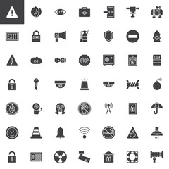 Safety protective elements vector icons set, modern solid symbol collection, filled style pictogram pack. Signs, logo illustration. Set includes icons as gas mask, ring buoy, respirator, cctv camera
