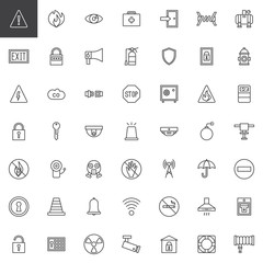 Safety protective elements line icons set, outline vector symbol collection, linear style pictogram pack. Signs, logo illustration. Set includes icons as gas mask, ring buoy, respirator, cctv camera