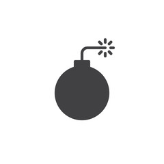 Bomb with fire pop icon vector, filled flat sign, solid pictogram isolated on white. Symbol, logo illustration.