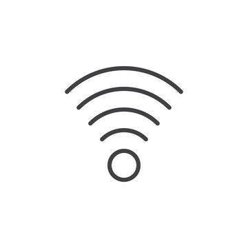 Wireless connection signal line icon, outline vector sign, linear style pictogram isolated on white. Wifi zone symbol, logo illustration. Editable stroke