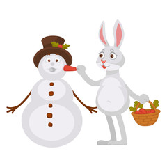 Adorable rabbit with basket of carrots makes snowman