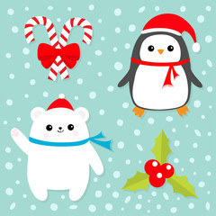 Merry Christmas icon set. Candy Cane stick with red bow. Penguin bird, white polar bear cub wearing Santa Claus hat, scarf. Holly berry Mistletoe. Flat design. Blue snow background