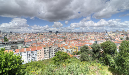 Panoramic view of central Lisbon, Portugal
