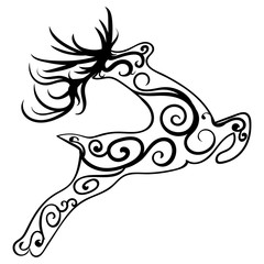Zentangle stylized deer. Ethnic patterned vector