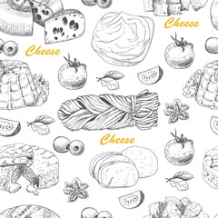 Vector pattern with cheese products