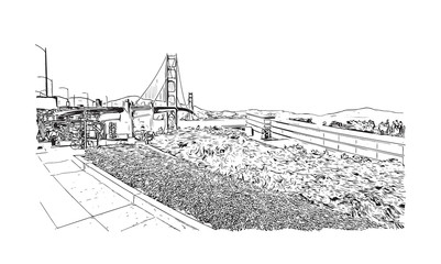 Sketch illustration of The Golden Gate Bridge is a suspension bridge spanning the Golden Gate, the one-mile-wide strait connecting San Francisco Bay and the Pacific Ocean in vector.