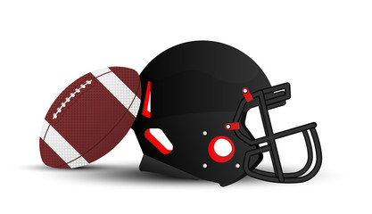 American football helmet and ball on white background. Flat vector illustration EPS 10