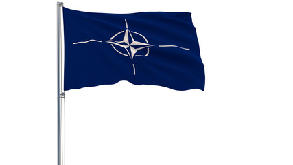 Isolate flag of the North Atlantic Treaty Organization - NATO on a flagpole fluttering in the wind on a white background, 3d rendering.