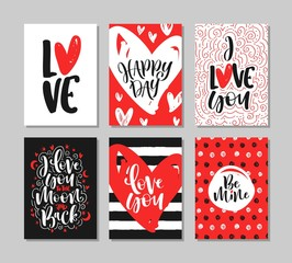 Set of Romantic greeting cards for Valentine's day