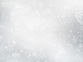 silver winter Christmas background with snowflakes