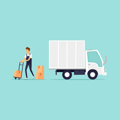 Delivery, freight. Flat design vector illustration.