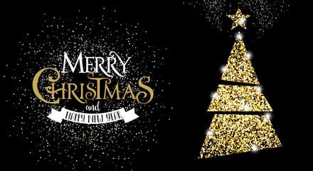 Elegant Christmas Tree, Glitter, Gold