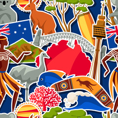 Australia seamless pattern. Australian traditional sticker symbols and objects