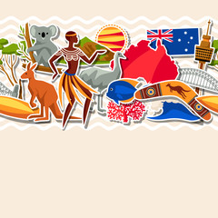 Australia seamless pattern. Australian traditional sticker symbols and objects