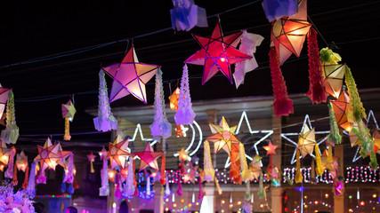 Stars Christmas day in Sakon Nakhon,Thailand. Fotomurales