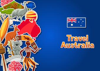 Australia background design. Australian traditional sticker symbols and objects