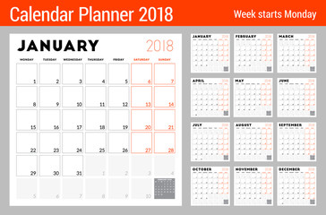 Calendar planner for 2018 year. Week starts on Monday. Printable vector design template. Stationery design