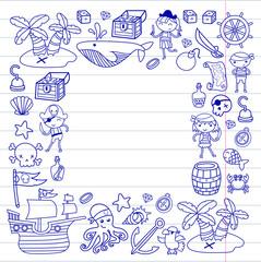 Children playing pirates Boys and girls Kindergarten, school, preschool, halloween party Treasure island, pirate ship, crab, parrot Adventure and travel and fun Birthday invitation