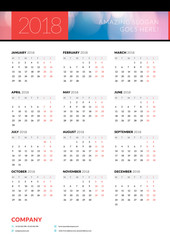 Calendar poster for 2018 year. Portrait oriantation. Vector design print template with abstract background or place for photo. Week starts on Monday